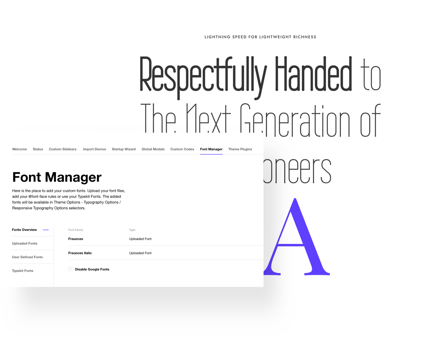 Impeka Font manager - Premium WordPress Multipurpose theme by Greatives
